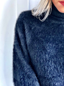 Black Turtleneck Knit Sweater