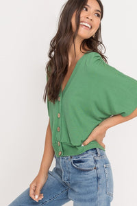 Kelly Green Button Up Short Sleeve