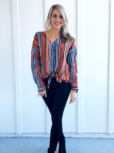 Multicolored Striped V Neck Long Sleeve