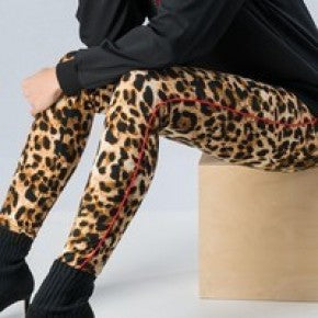 Leopard Print Leggings with Red Side Stripe