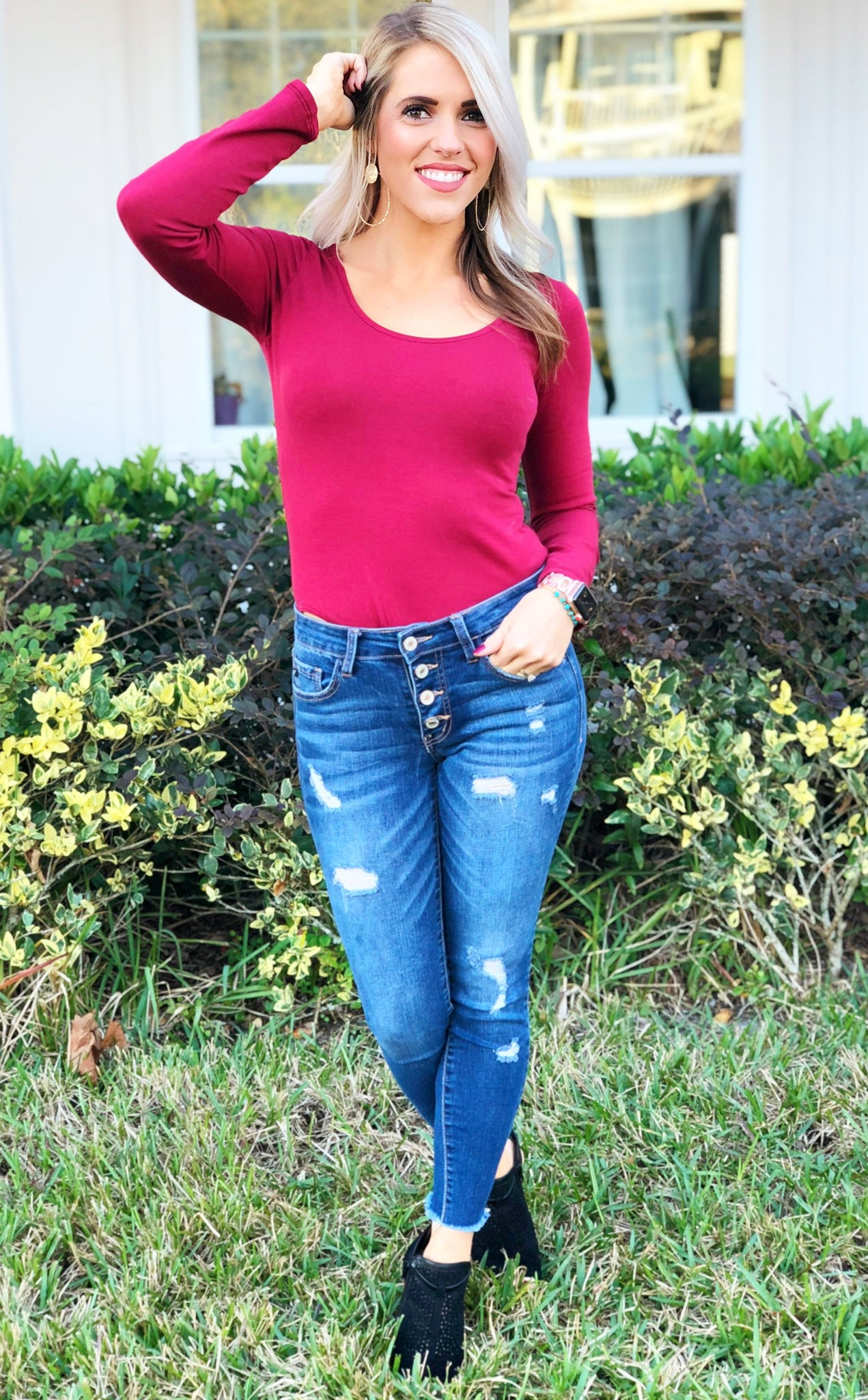 Wine Long Sleeve Bodysuit