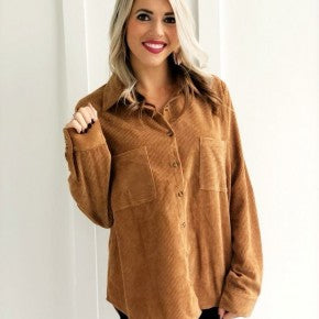 Long Sleeve Corduroy Shirt Camel