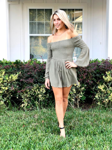 Olive Off Shoulder Romper