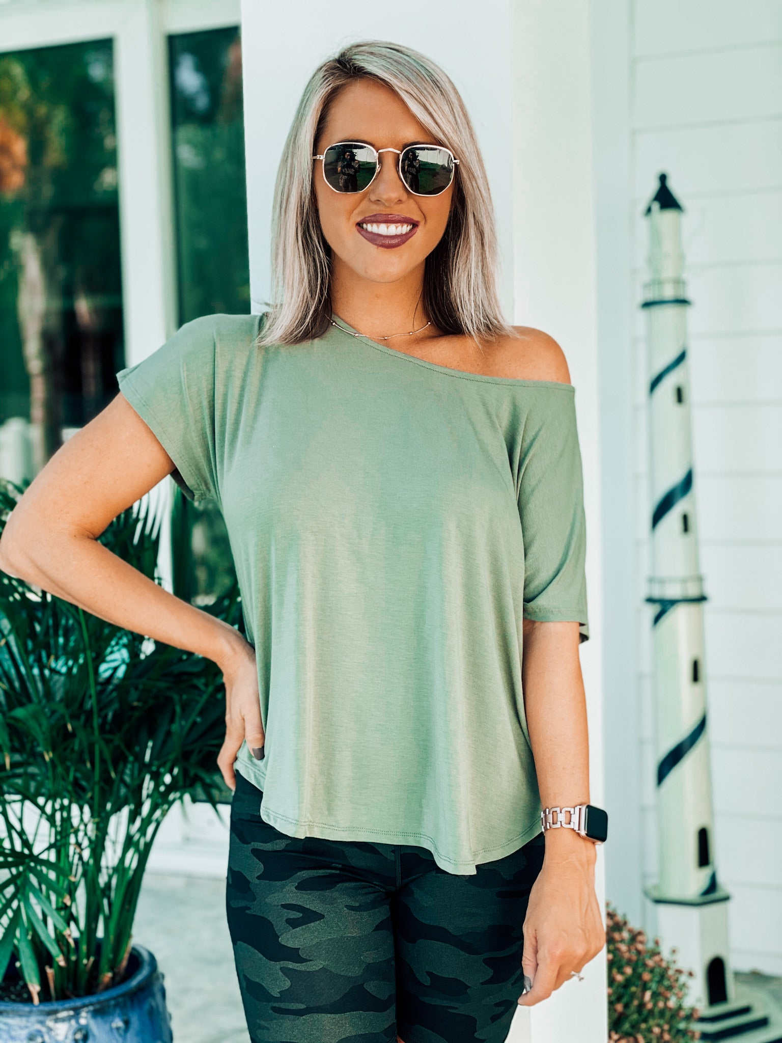 Olive Off shoulder Basic Tee
