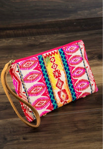 Pink and White Multicolor Aztec Clutch