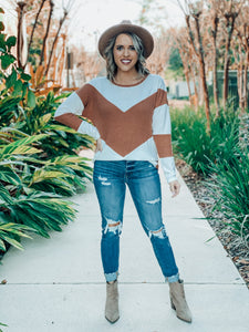 Brown Accent Waffle Long Sleeve Top