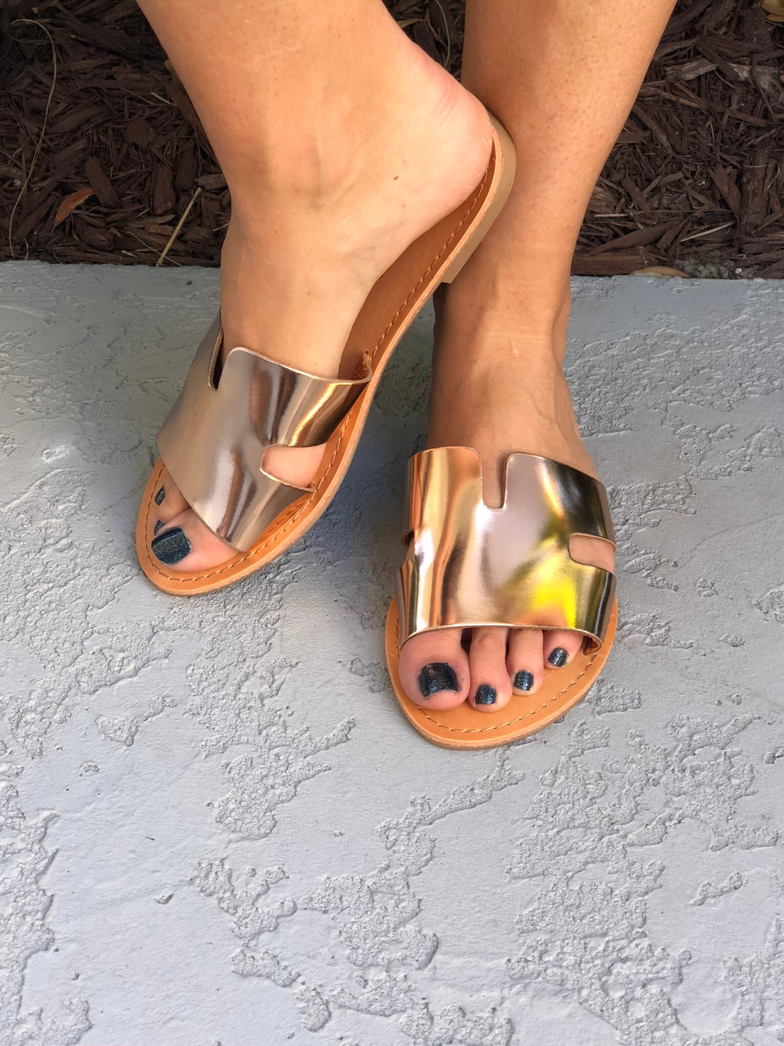 Rose Gold Sylvia Slides