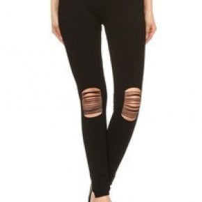 Black Seamless Legging with knee slits