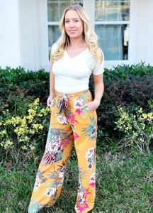 Mustard Floral Pants