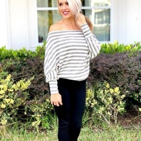 Ivory and Grey Stripe Long Sleeve Top