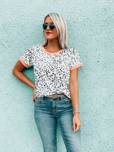 Leopard Peach Trim Tee