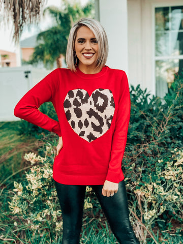 Red Leopard Heart Sweater