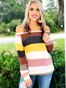 Multi Color Stripe French Top
