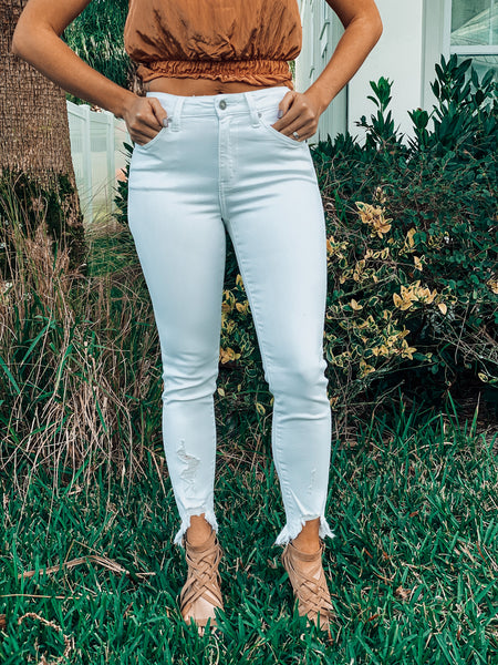 Brittney White High Rise Skinny Jeans