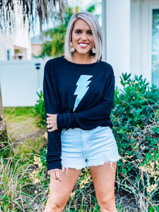 Black Lightening Bolt Graphic Sweatshirt
