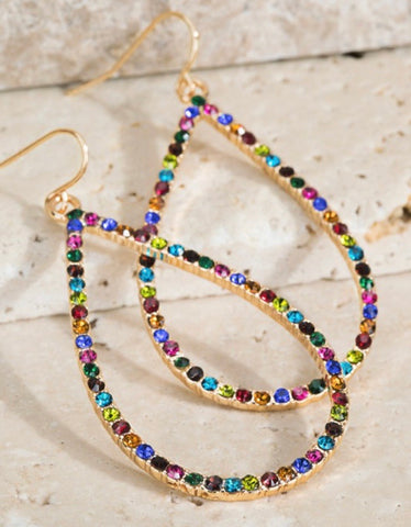 Multi Color Stud Gold Tear Drop Earrings