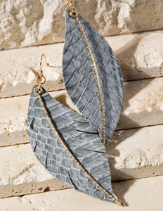 Grey Leaf Earrings