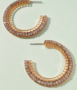Gold Grey Stone Hoop Earrings