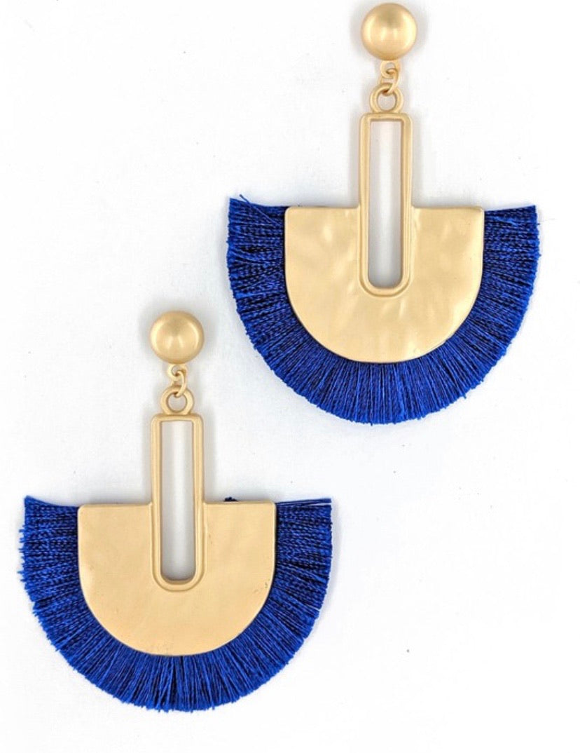Blue Metal Tassel Earrings