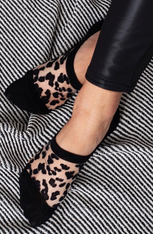 Leopard Sheer Noshow Socks