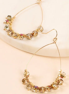 Multi Wire Drop Glass Bead Earrings