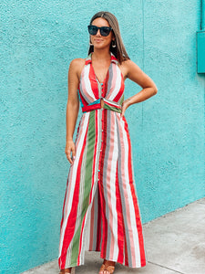 Red Multi Cross Back Stripe Maxi