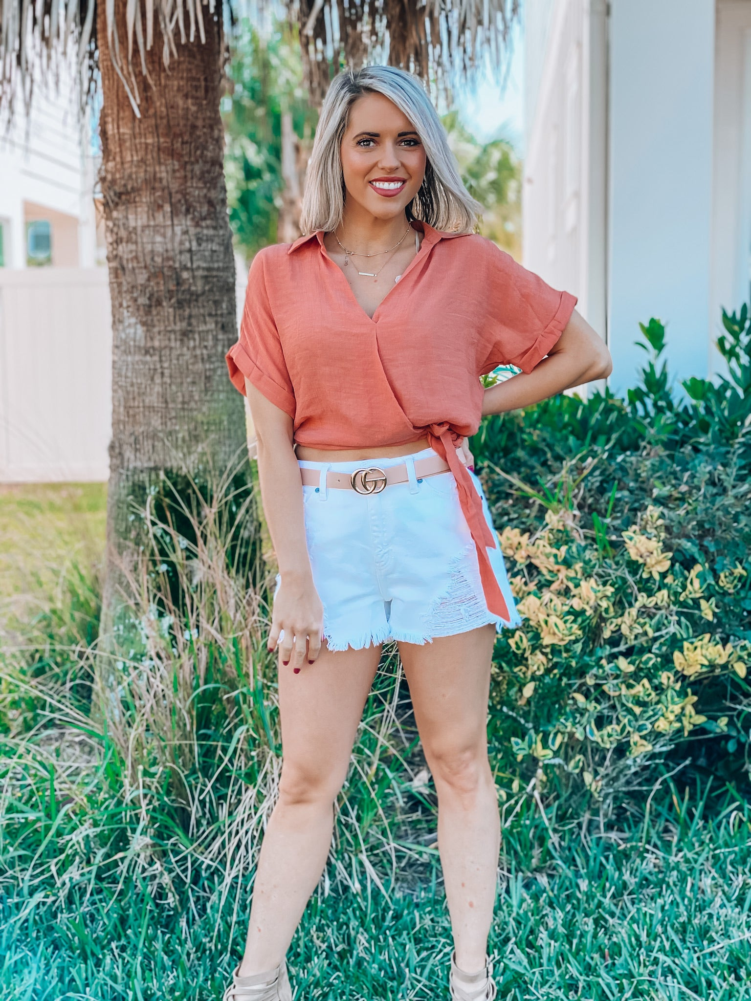 Terracotta Wrap Shirt