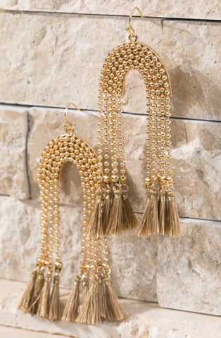 Taupe U-Shaped Tassel Earrings