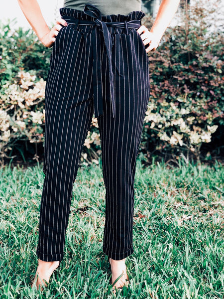 Black Pinstriped Front Tie Pants