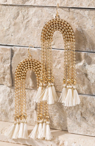 Ivory U-Shaped Tassel Earrings