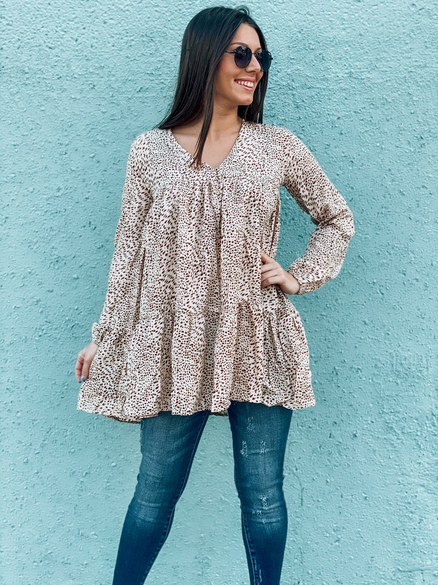 Leopard V Neck Tunic Dress