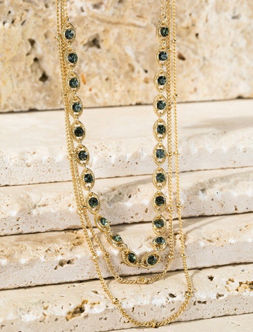 Black Diamond Stud Layered Necklace
