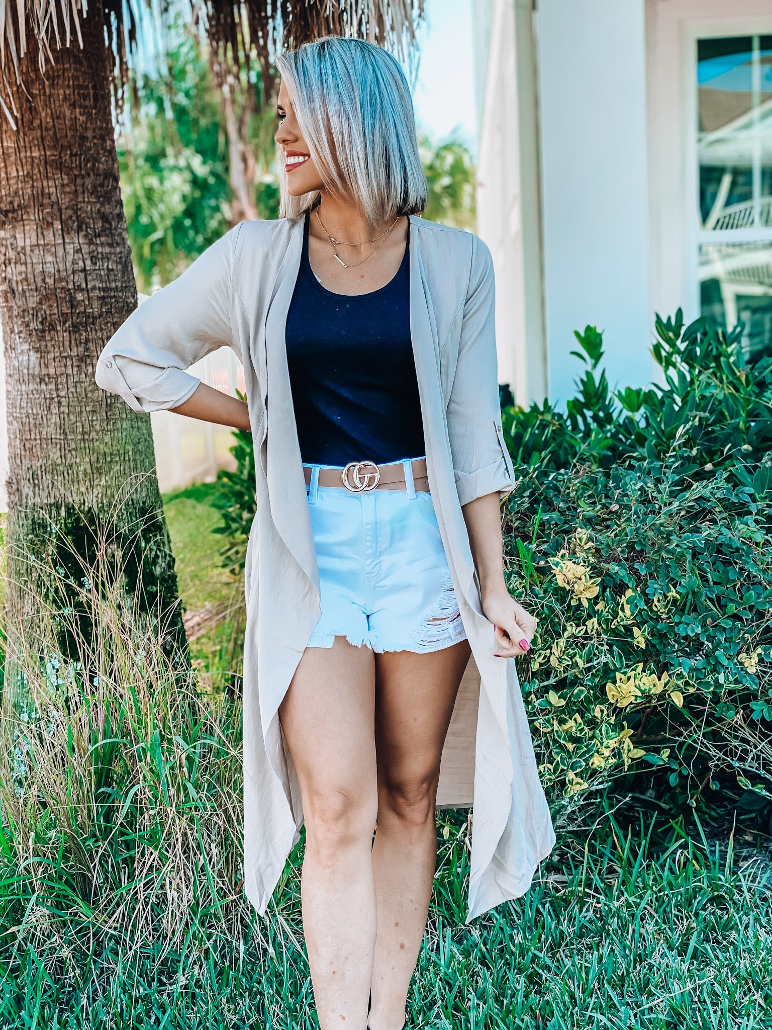 Taupe Long Sleeve Cover Up