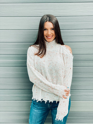 Confetti Distressed Cold Shoulder Sweater