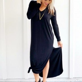 Front Knot Detailed Maxi Dress Black