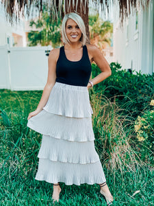 Stone Grey Pleated Tiered Skirt