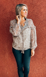 Cheetah Ruffle Blouse