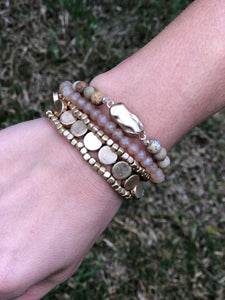 Gold and Tan 5 Strand Bead Bracelet Set