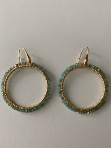 Jade Beaded Hoop Earrings
