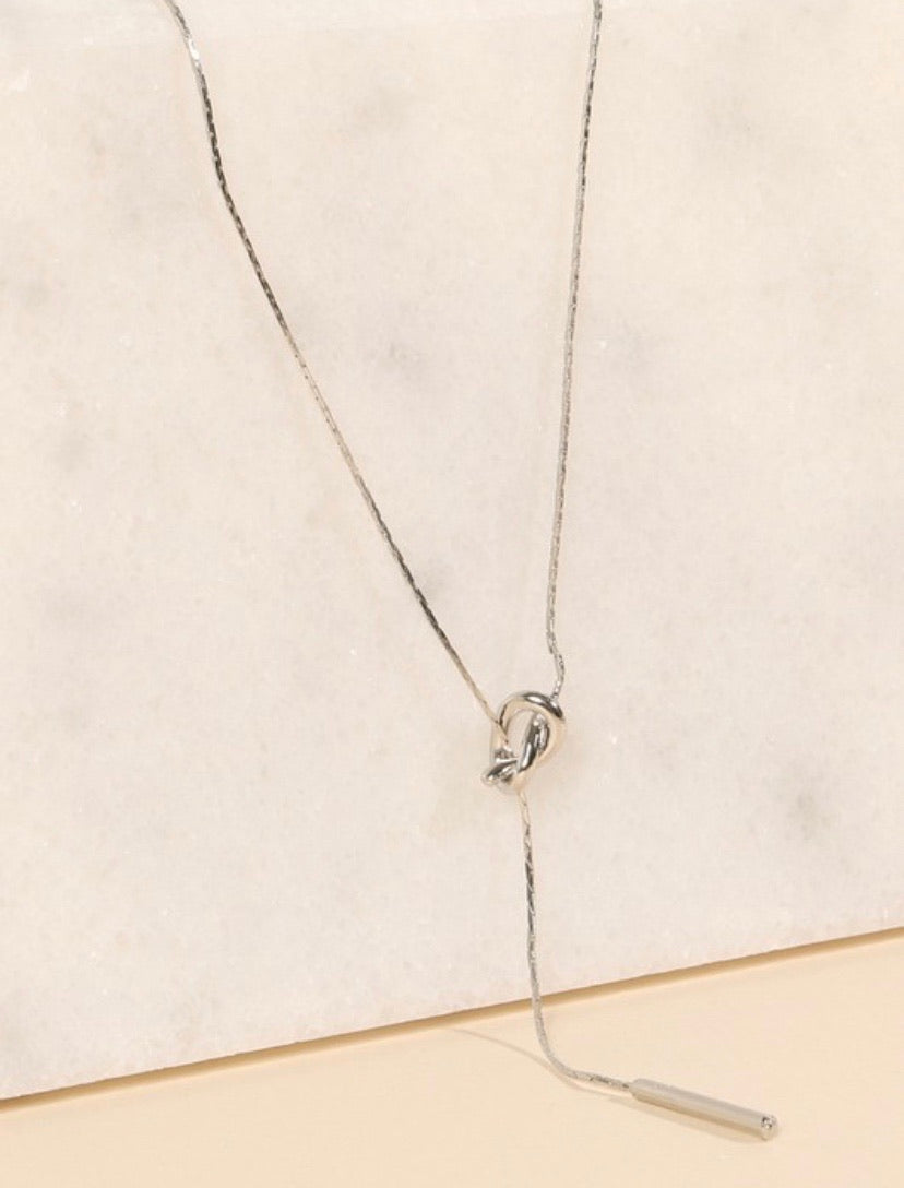Silver Metal Knot & Pendant Bar Necklace