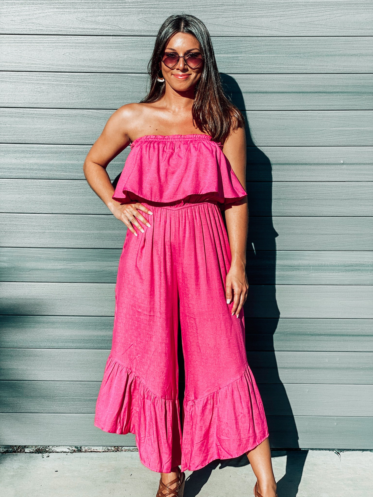 Hot Pink Ruffle Jumpsuit