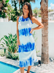 Blue & White Tie Dye Dress