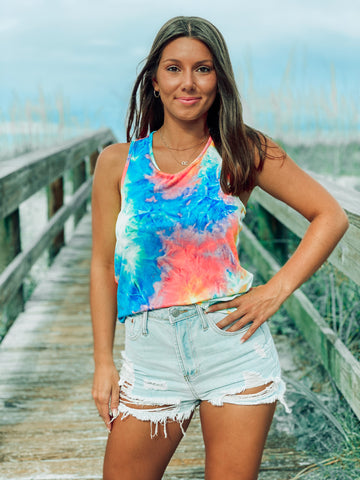Neon Tie Dye Cross Back Cover Up