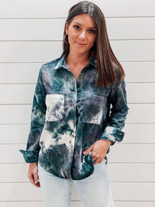 Tie Dye Corduroy Button Down Shirt