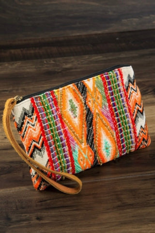 Orange and Black Multicolor Aztec Clutch