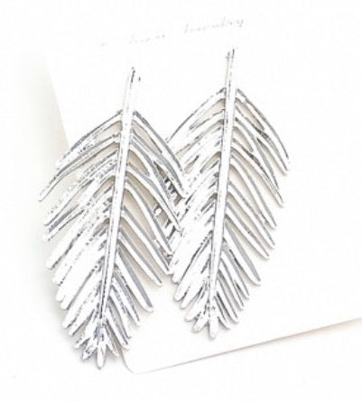 Silver Floating Feather Earrings