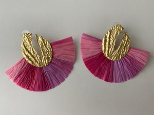 Pink Fringe Fan Earrings
