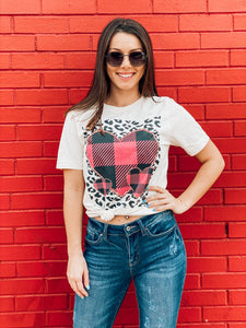 Plaid Heart Graphic Tee
