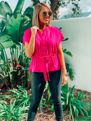 Hot Pink Tie Waist Blouse