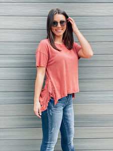 Rosewood Side Ruffle Tunic